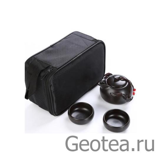 """Дорожный набор-сервиз """"Черный фарфор"""" 3 предмета"""