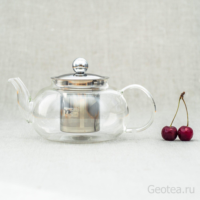 Чайник с ситом, стекло 800мл.