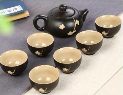 "Сервиз ""Черная сакура"", 6 пиал 30 мл., чайник 120 мл."