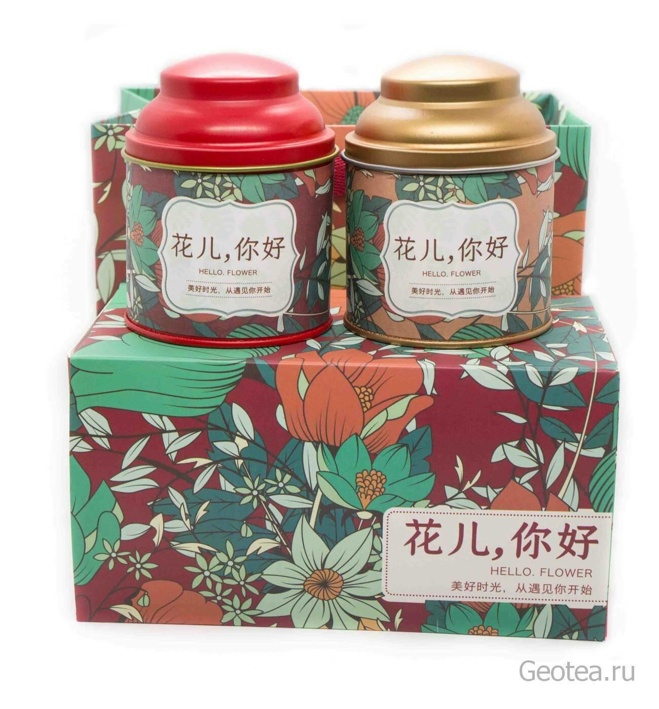 """Подарочный набор """"Цветы на красном"""" 2 вида чая"""