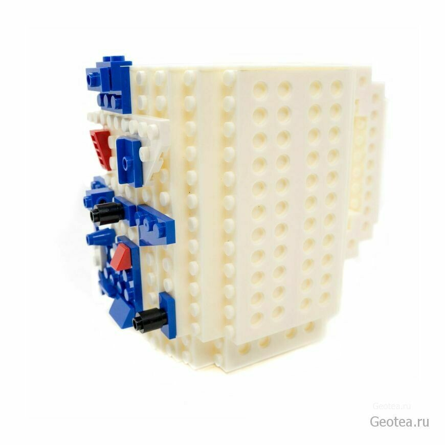 Кружка в стиле Лего 350 мл. белая с мини набором
