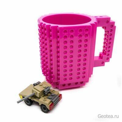 Кружка в стиле Лего 350 мл. фиолетовая с мини набором