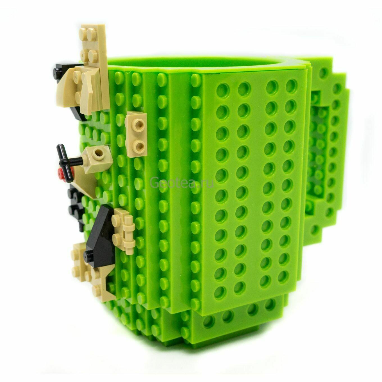 Кружка в стиле Лего 350мл. зеленая с мини набором