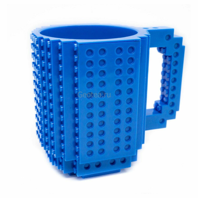 Кружка в стиле Лего 350 мл. синяя с мини набором