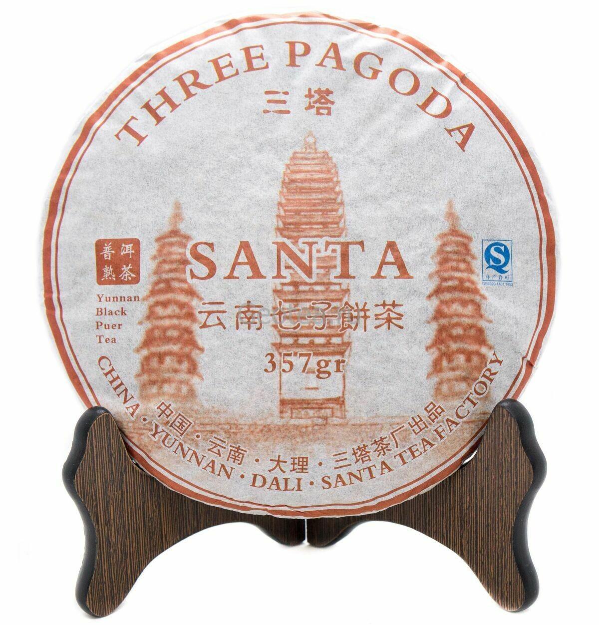"""Чай Шу Пуэр Саньта """"Три пагоды"""" 357гр., 2019г."""
