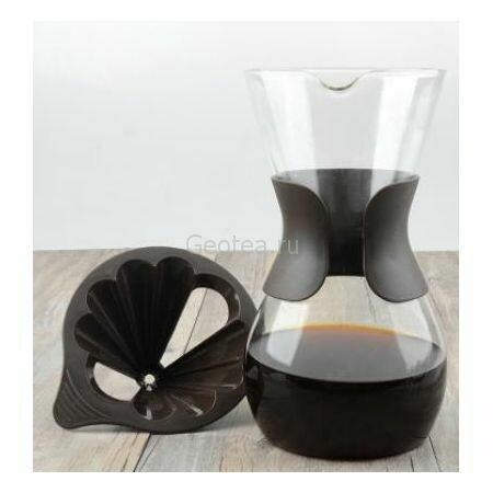 Кофейник - воронка с пластиковым фильтром, стекло
