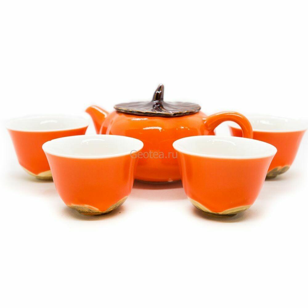 """Чайный сервиз """"Хурма"""" в подарочной коробке, 5 предметов, фарфор"""