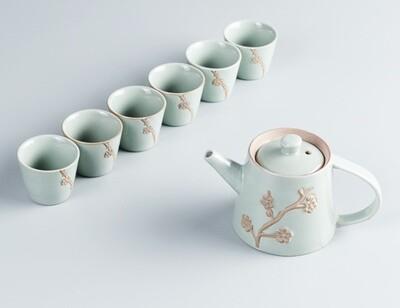 """Сервиз ГЭЯО """"Сакура"""", 1 чайник, 6 пиал, фарфор"""