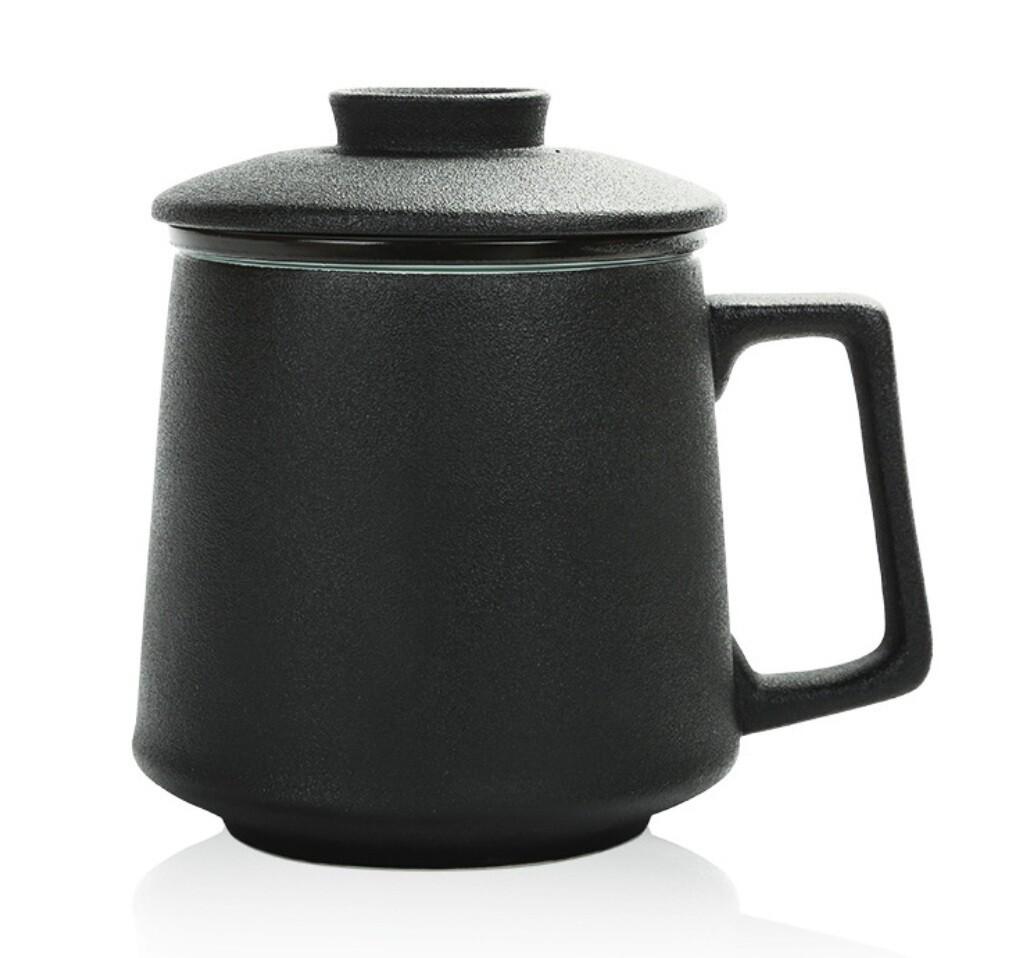 Кружка Яичная Скорлупа с крышкой, 420мл., фарфор