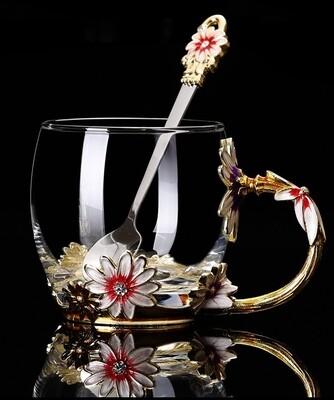 """Кружка / чашка с ложкой LUXURY """"Маргаритка"""" в подарочной коробке, 300мл., стекло"""