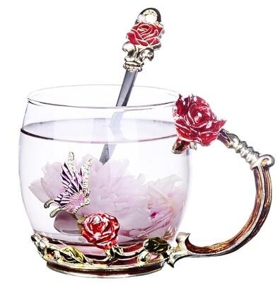"""Кружка / чашка с ложкой LUXURY """"Красная роза"""" в подарочной коробке, 320мл., стекло"""
