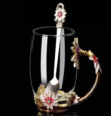 """Кружка / чашка с ложкой LUXURY """"Маргаритка"""" в подарочной коробке, 350мл., стекло"""