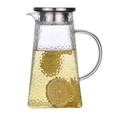 """Чайник """"Молотковое стекло"""" с металлической крышкой, 1000мл."""