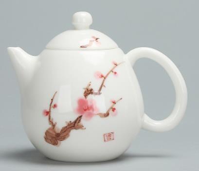 """Чайник """"Сакура"""" белый нефрит ручная роспись, 250мл., фарфор белый"""