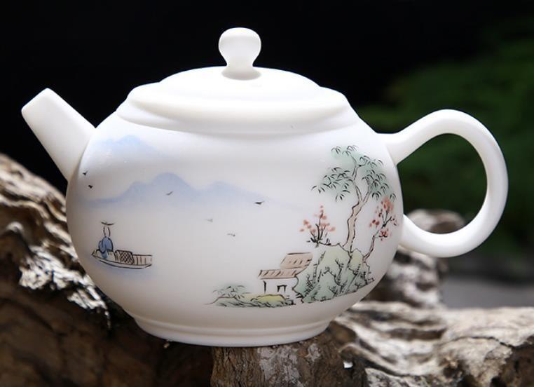 """Чайник """"Горное озеро"""" матовый нефрит ручная роспись, 250мл., фарфор белый"""