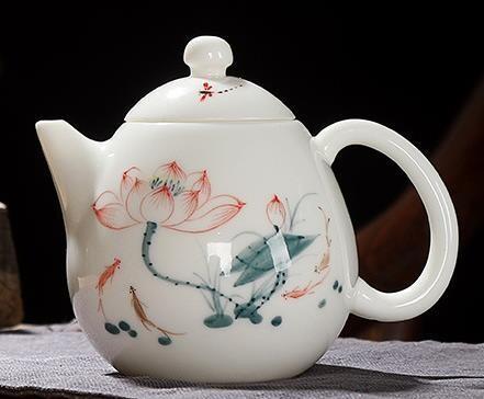 """Чайник """"Лотос"""" белый нефрит ручная роспись, 250мл., фарфор белый"""