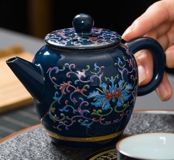 """Чайник """"Синяя глазурь"""" 200мл., фарфор"""