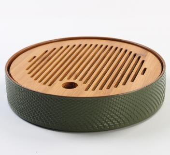 """Чайная доска / чабань """"Японский чай"""", бамбук натуральный / керамика"""