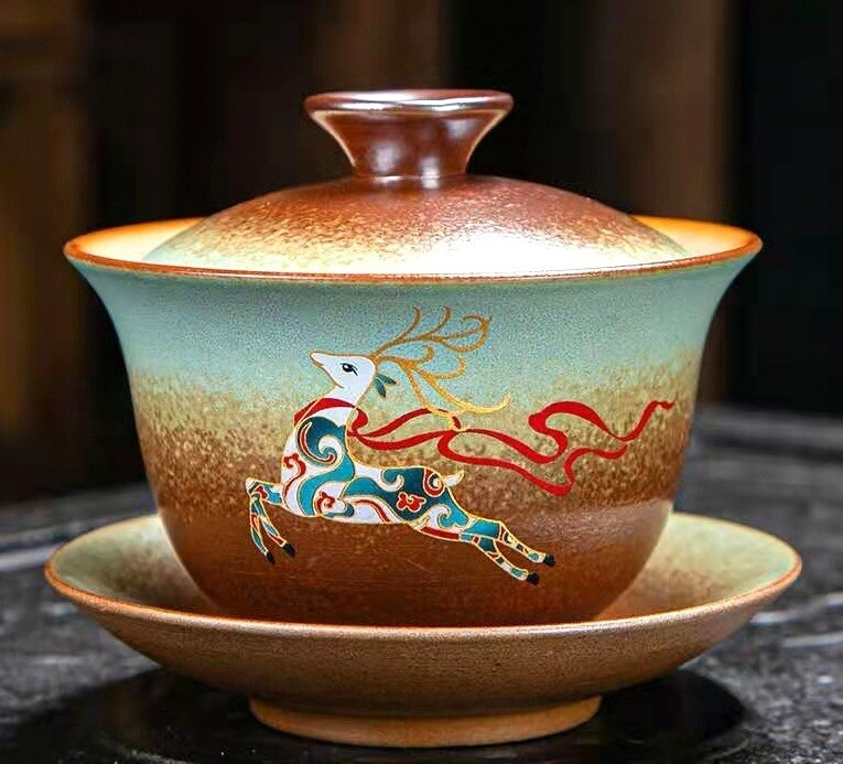 """Гайвань Обжиг в печи """"Лесной олень"""" керамика, 180мл."""
