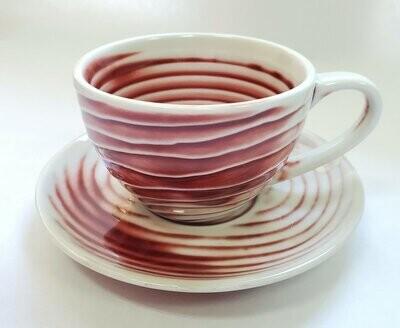 """Кружка / Чашка с блюдцем """"Красно-белый"""", в подарочной коробке, керамика, 100мл."""