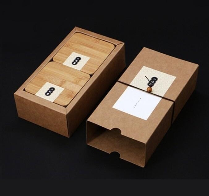 Подарочный набор 2 банки и коробка, крафт / жесть