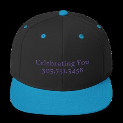 Celebrating You Designer Snapback Yupoong Hat - WNO Embroidered - Purple