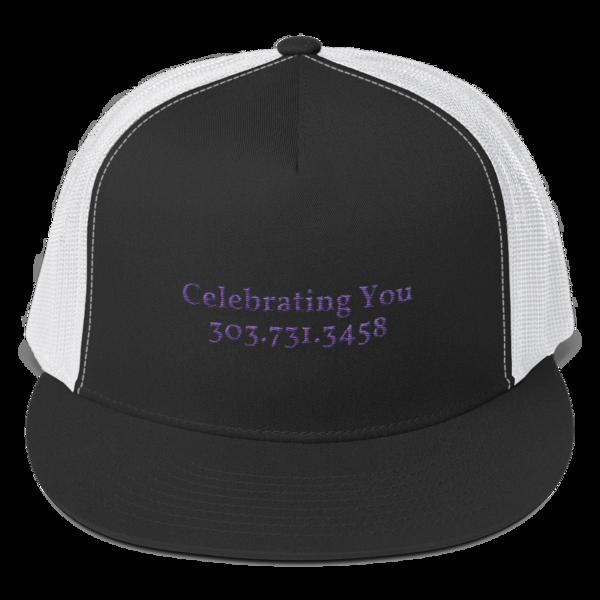 Celebrating You Designer 5 Panel Trucker Hat - WNO Embroidered - Purple