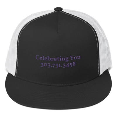 Celebrating You Designer 5 Panel Trucker Hat - WNO Embroidered - Purple