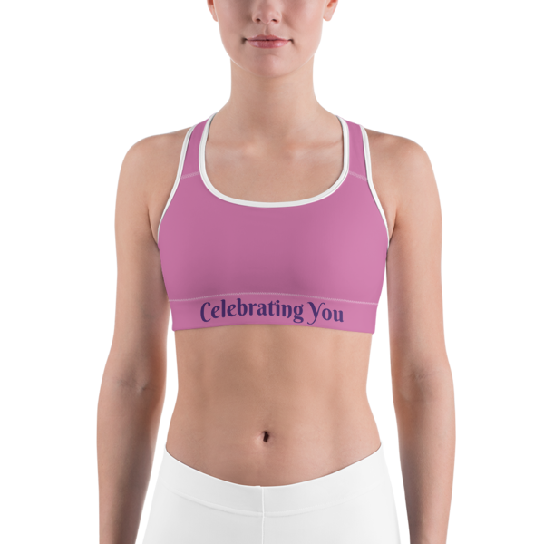 Celebrating You Designer Sports Bra - WNO - Purple on Light Pink