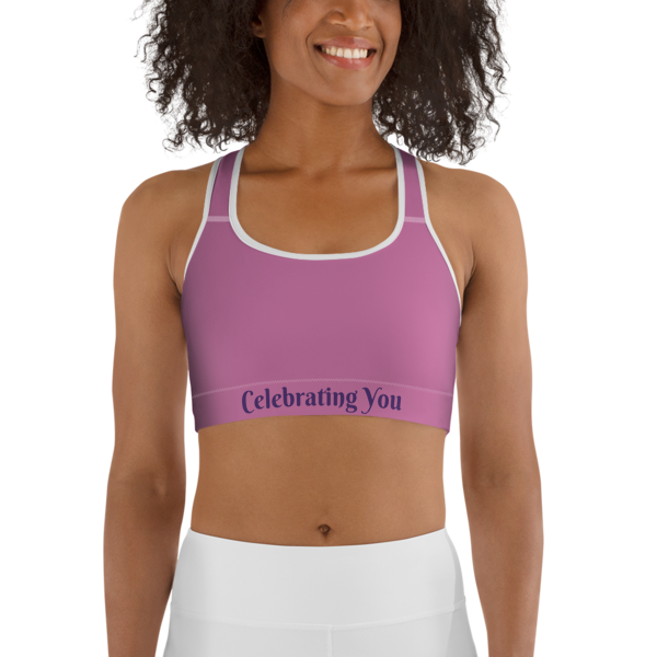 Celebrating You Designer Sports Bra - WONO - Purple on Light Pink