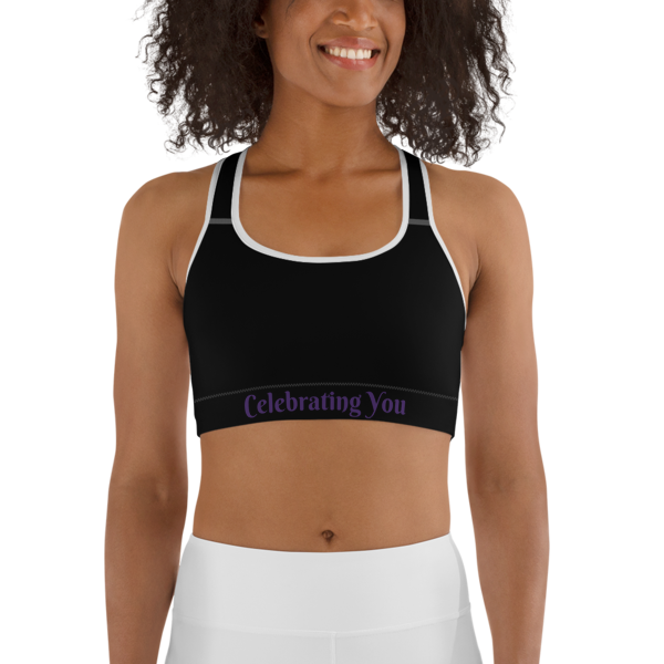 Celebrating You Designer Sports Bra - WONO - Purple on Black