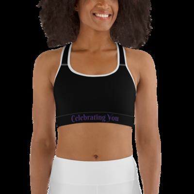 Celebrating You Designer Sports Bra - WONO - Purple on Black