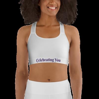 Celebrating You Designer Sports Bra - WONO - Purple on White
