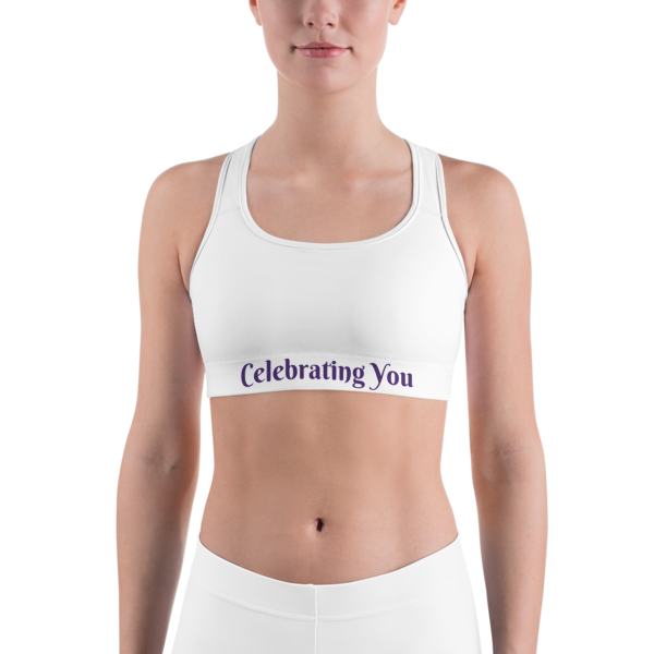 Celebrating You Designer Sports Bra - WNO - Purple on White