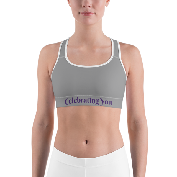Celebrating You Designer Sports Bra - WNO - Purple on Medium Grey