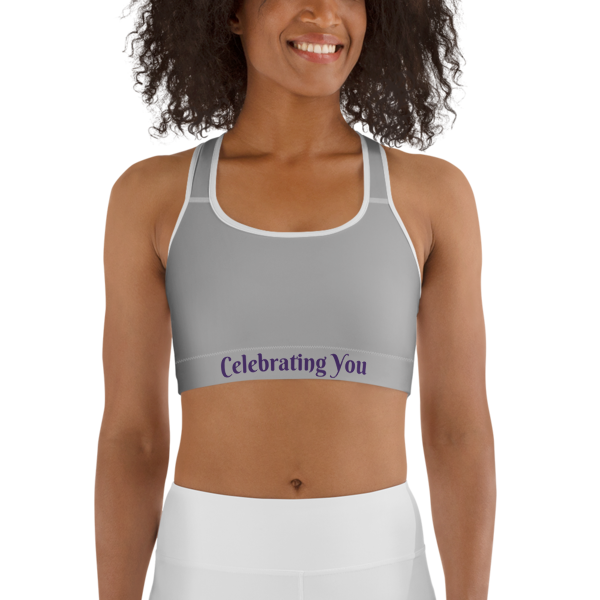 Celebrating You Designer Sports Bra - WONO - Purple on Light Grey