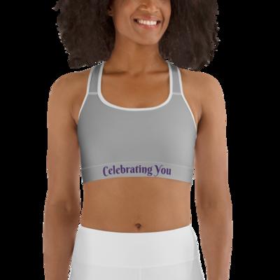 Celebrating You Designer Sports Bra - WONO - Purple on Light Grey