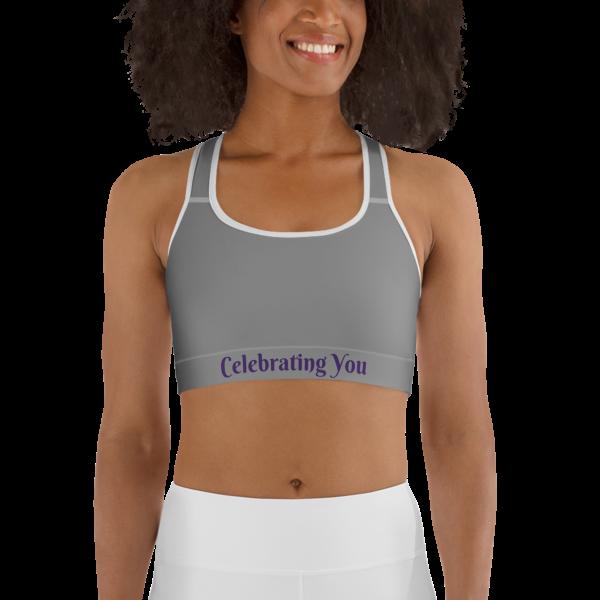 Celebrating You Designer Sports Bra - WONO - Purple on Medium Grey