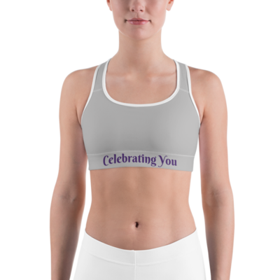 Celebrating You Designer Sports Bra - WNO - Purple on Light Grey