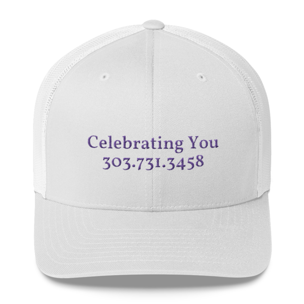 Celebrating You Designer Yupoong Trucker Hat - WNO Embroidered - Purple