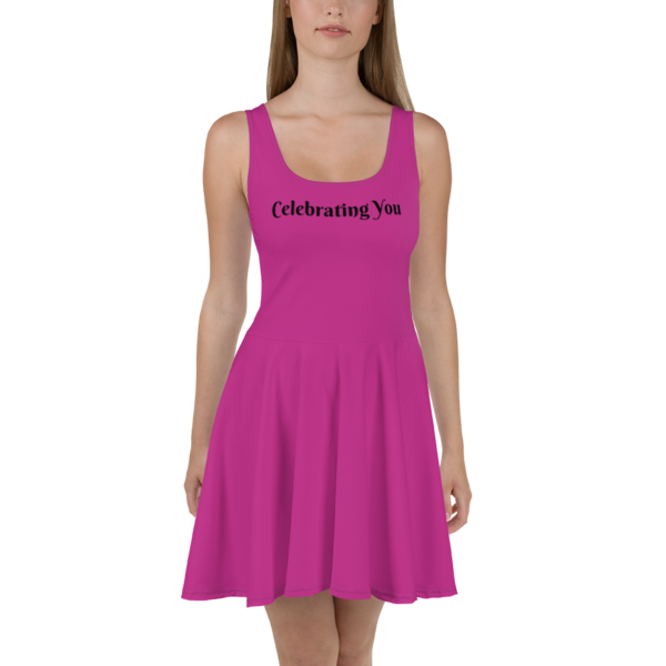 Celebrating You Designer Skater Dress with Black Trim - WONO - Black on Dark Pink