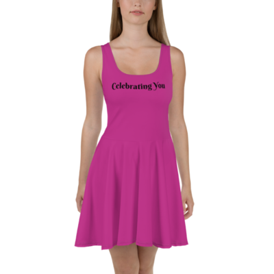 Celebrating You Designer Skater Dress with Black Trim - WONO - Black on Dark Pink