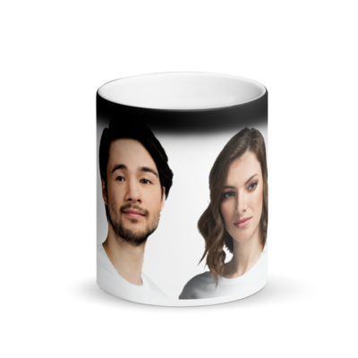 Celebrating You Designer His & Hers Matte Black Magic Mugs
