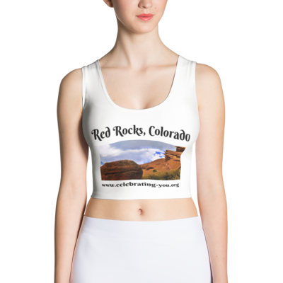 Celebrating You Designer Sublimation Cut & Sew Crop Top - Red Rocks Colorado