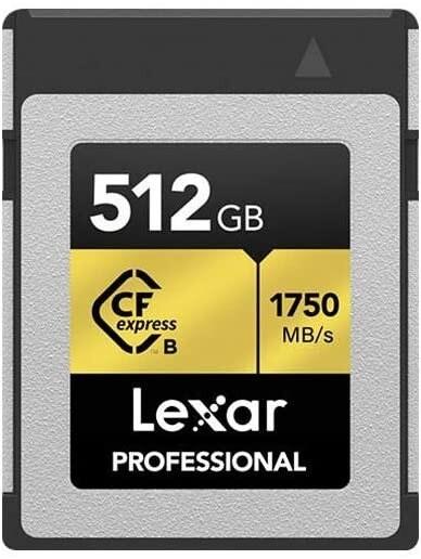 Lexar Professional CFexpress 512GB Type-B Memory Card, 1750MB/s Read, 1000MB/s Write