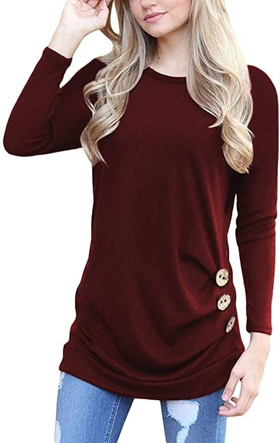 Yincro Women's Casual Long Sleeve Tunic Tops Fall T-shirt Blouse