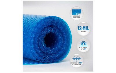 Blue Wave 12-mil Solar Blanket for Hot Tubs - 7-ft x 8-ft Rectangular Spa Cover with UV-Resistant Thermal Bubbles