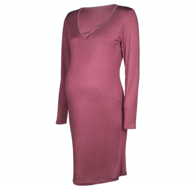 European and American new solid color V-neck maternity dress   Lady Maternity Dress