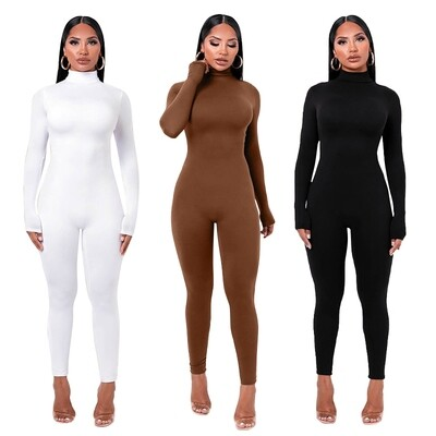 New Arrival Solid Bodycon sexy Jumpsuits High Neck One Piece Clothing Set Outfits Bodycon Romper Jumpsuit For Women