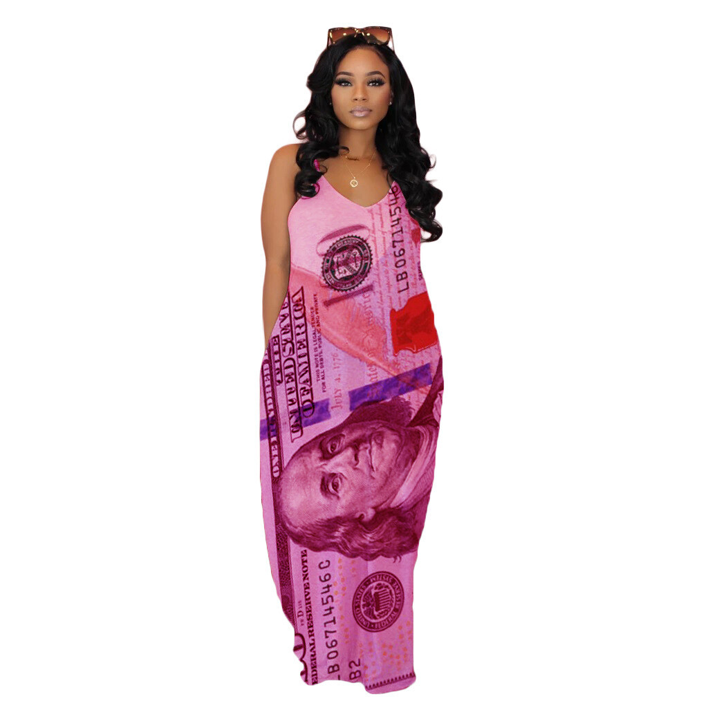 LML115 new arrivals Delta Gold printed suspender MAXI DRESS long DRESS pockets women